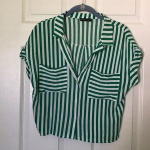 Green/White Button Down Top